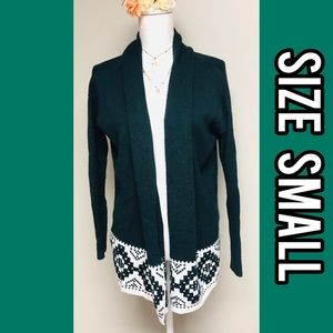 Christmas green Aztec long sleeve cardigan
